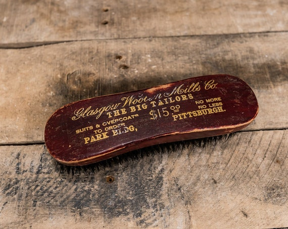 Vintage Pittsburgh Shoe Shine Brush Glasgow Wooden Mills Co. Wood Brush Rustic Man Cave Advertising Merchant Tailor
