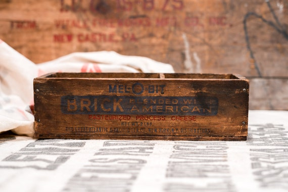 Vintage Mel-O-Bit Cheese Wooden Crate, Cheese Box, Advertising Wooden Cheese Crate