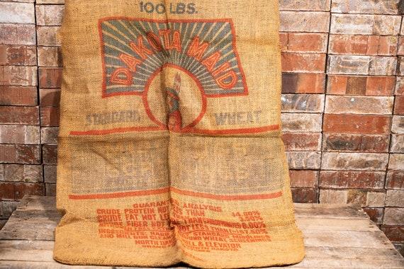 Vintage Dakota Maid Sack Rustic Primitive Farmhouse Country Advertising Red Blue