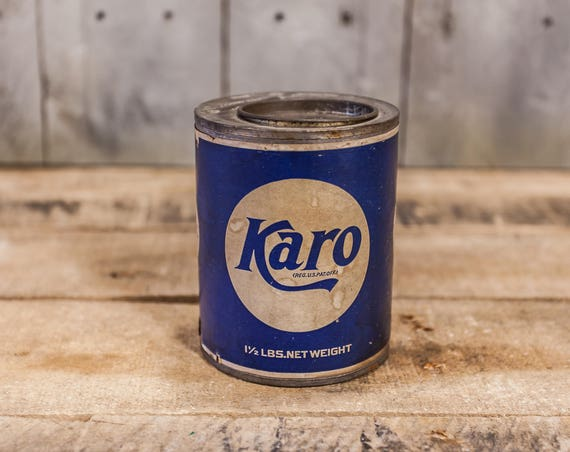 Vintage Karo Tin Paper Label White Blue Advertising Can Kitchen Rustic Decor Collectable Tin