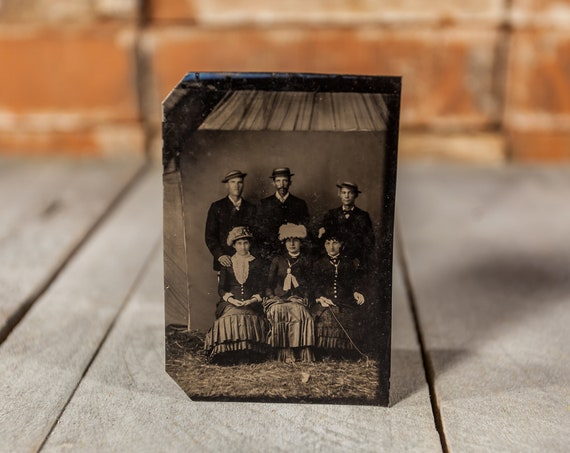 Antique Tintype Photography Sibling Family Photo Friends Photo Tintype Photograph Photo Props