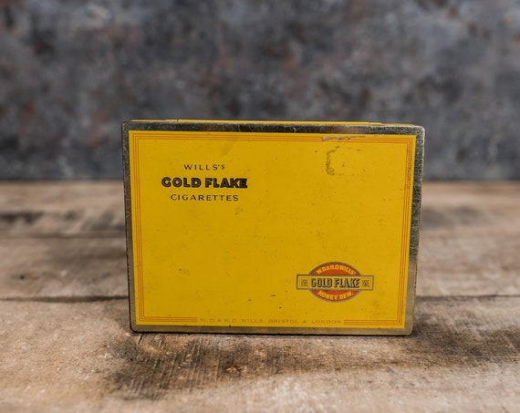 Vintage Wills's Gold Flake Cigarette Tin Yellow Tobacco Tin Tobacciana Man Cave Rustic Advertising W.D. & H.O. Wills Bristol London