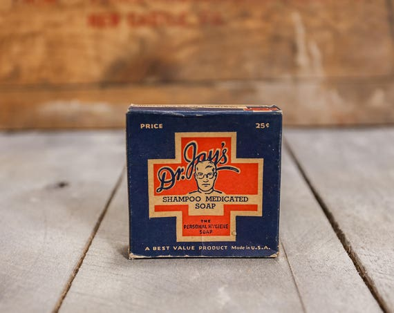 Vintage Dr. Jays Medicated Shampoo Soap Blue Red Original Unopened Package Advertising Box Bathroom