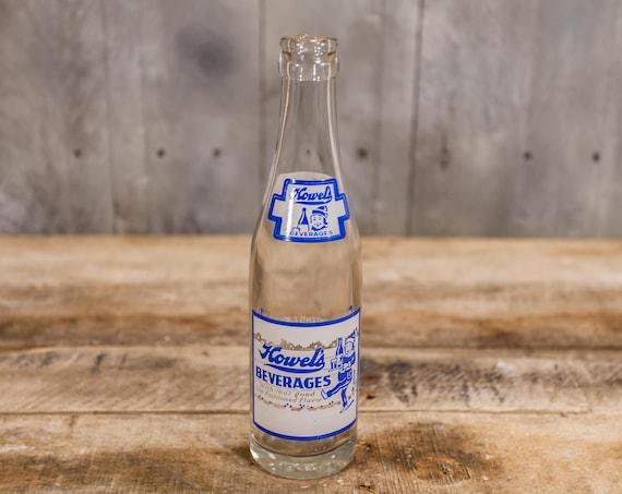 Vintage Howel's 7oz Bottle ACL Glass Bottle White Blue Howel's Beverage Company Pittsburgh PA