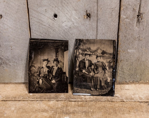 Antique Tintype Photography Sibling Family Photo Sisters Tintype Photograph Photo Props
