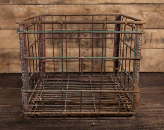 Vintage Sani Dairy Metal Wire Milk Crate Box Metal Bin Rustic Industrial Primitive Carrier