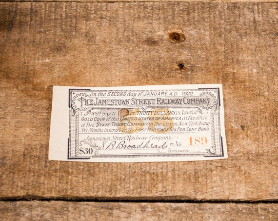 Vintage 1922 The Jamestown Street Railroad Co. Stock Bond Ephemera