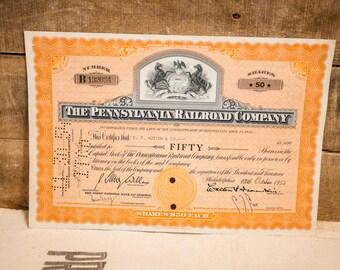 Pennsylvania Railroad PRR 1960s Stock Certificate Set Horseshoe Curve Vignette F