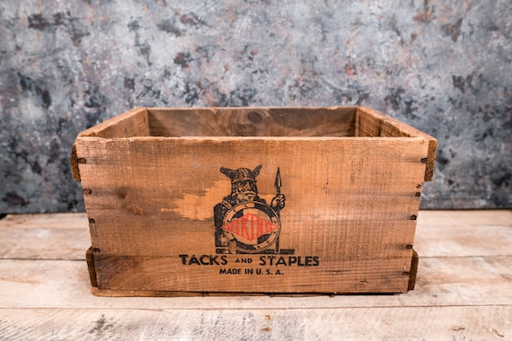 Vintage Rare Viking Tacks and Staples Wooden Crate Box Storage Man Cave Rustic