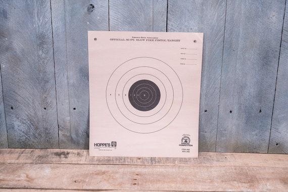 Vintage NRA 50 ft Slow Fire Pistol Target National Rifle Association Hoppes 9 Advertising Hunting Man Cave Cabin Decor Lot of 5