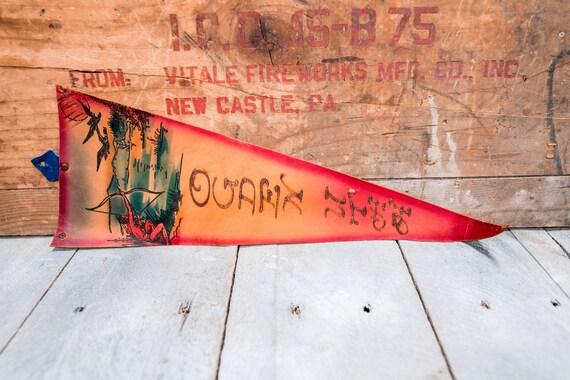 Vintage Ogden Utah Leather Pennant Travel Souvenir Banner Flag Man Cave Rustic Indian Native American