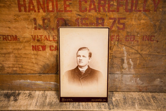 Antique Cabinet Card Photography Boy Photo Young Man Haines Photograph Photo Props Philipsburg PA
