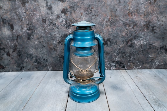 Vintage V&O Lantern No. 76 Blue Gold Farmhouse Railroad Metal Hanging Rustic Wedding Lighting Style Home Decor