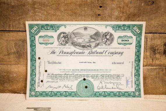 Vintage 1950s The Pennsylvania Railroad Company Stock Certificate 100 Shares Ephemera
