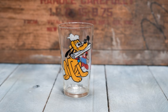Vintage 1970s Pluto and Mickey Mouse Collectable Glass Walt Disney Productions