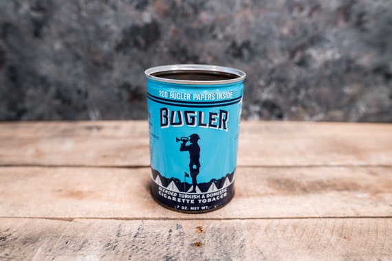 Vintage Bugler Cigarette Tobacco Tin Blue Teal Man Cave Decor Cigarette Pipe Advertising
