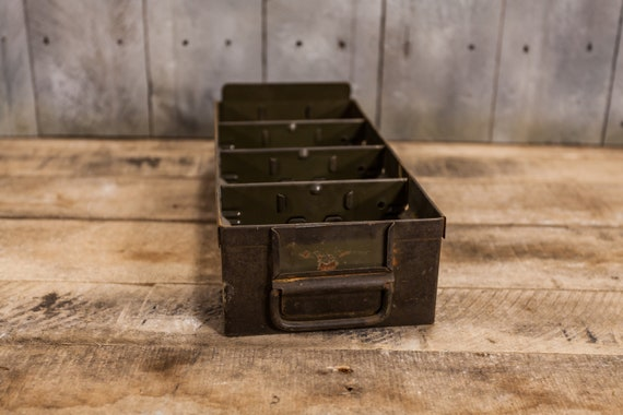Vintage Rustic Metal Single Drawer Index Card Cabinet Drawer Army Green Industrial File Library Cabinet Box Recipe Box Kitchen Decor