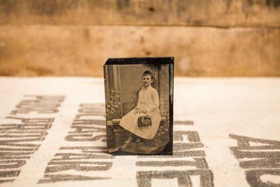 Antique Tintype Photography Little Girl Photo Tintype Photograph Photo Props