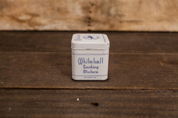 Vintage Whitehall Smoking Mixture Tobacco Square 1oz Tin Kentucky Club Tobacco Tin Blue White Man Cave Decor Cigarette Pipe Advertising