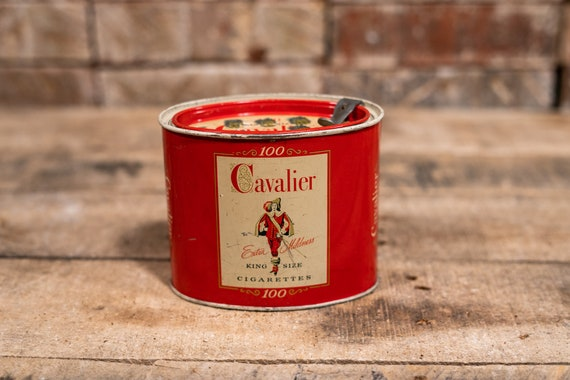 Vintage Cavalier Tobacco Tin Can Man Cave Cigarette Tin Can Tobacco Canister