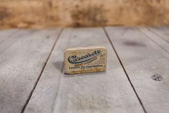 Vintage Cascaret's Candy Cathartic Laxative Tin Rustic Collectable Tin Farmhouse Country Sterling Products Inc Wheeling West Virginia
