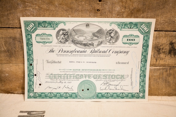 Vintage 1960s The Pennsylvania Railroad Company Stock Certificate 100 Shares Ephemera