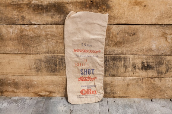 Vintage Winchester American Standard Chilled Lead Shot Canvas Bag 25lbs Hunting Decor Man Cave Rustic Bag Red Hunting Camp Cabin
