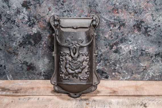 Vintage Cast Iron Mailbox Antique Mail Box Roses Flowers Ornate Home Decor Rustic