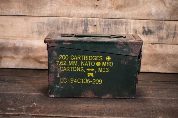 Vintage Military Ammo Box Green Yellow Ammunition Cartridge Box Rustic Man Cave Bullet Storage Rustic