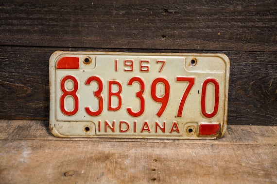 Vintage 1967 Indiana License Plate Metal Rustic Distressed Wall Hanger Garage Man Cave Decor Automotive Decor Red White