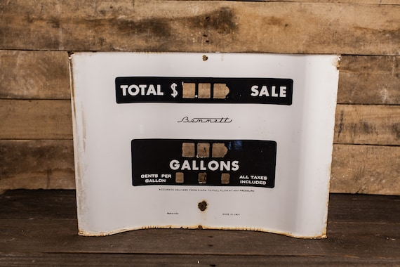 Vintage Bennett Porcelain Gas Pump Plate Sign Black White Rustic Man Cave Garage Advertising Sign Gas Station