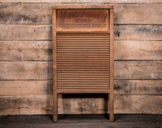 Vintage Rare WWII National Washboard No 118 Victory Wood Farmhouse Washboard Rustic Advertising Country Laundry Decor