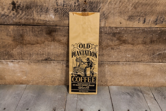 Vintage Old Plantation Coffee Bag NOS Ye Olden Coffee House Advertising Ephemera