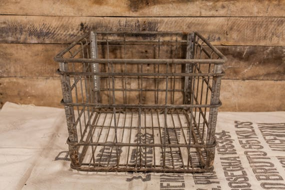 Vintage Key Harmony Dairy Metal Wire Milk Crate Box Metal Bin Rustic Industrial Primitive Carrier