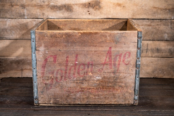 Vintage Golden Age Wooden Soda Pop Crate Primitive Carrier Farmhouse Country Modern Kitchen Decor Youngstown Ohio