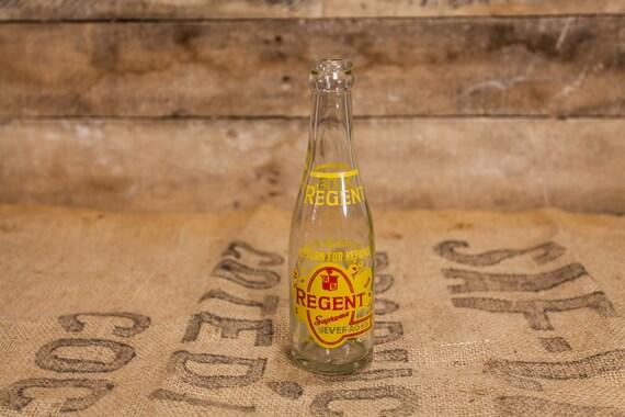 Vintage Regent Supreme Beverages 7oz Bottle ACL Glass Bottle Red Yellow Regent Bottling Co. Pittsburgh PA