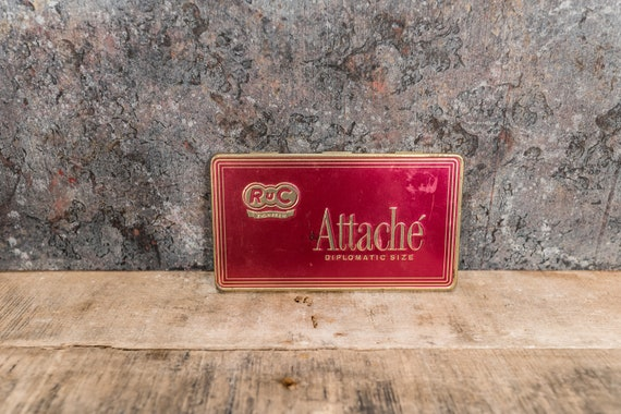 Vintage Attache Cigar Tin RUC Man Cave Decor Cigarette Pipe Advertising Made in Germany