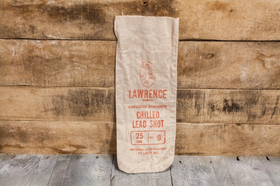 Vintage Lawrence Brand Chilled Lead Shot Canvas Bag 25lbs Hunting Decor Man Cave Rustic Bag Red Hunting Camp Cabin