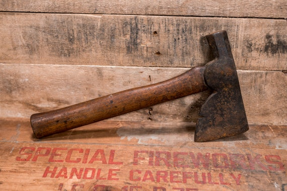 Vintage Axe Hatchet Wood Steel Lumber Primitive Industrial Rustic Farmhouse Country Tool Man Cave Cabin