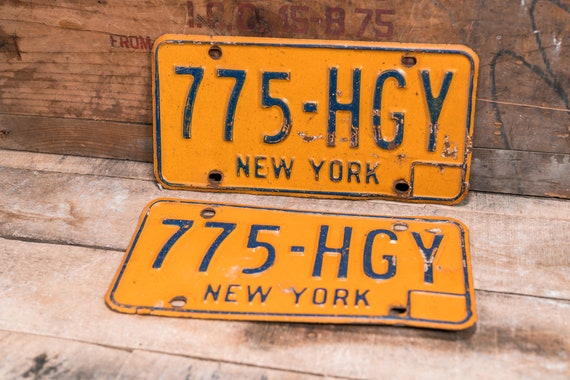 Vintage Matching New York License Plate Set Metal Rustic Distressed Wall Hanger Garage Man Cave Decor Automotive Decor