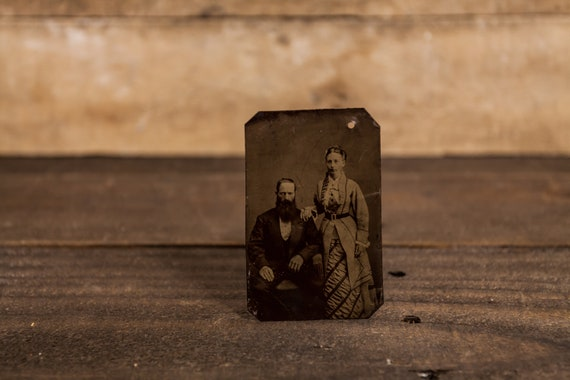 Antique Tintype Photography Man Woman Husband Wife Couple Photo Tintype Photograph Photo Props