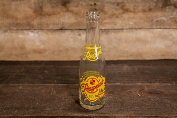 Vintage Regent Beverages 7oz Bottle ACL Glass Bottle Red Yellow Regent Bottling Co. Pittsburgh PA