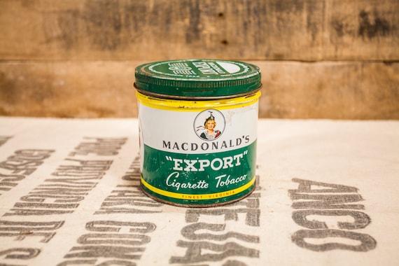 Vintage MacDonald's Export Cigarette Tobacco Tin Country Farmhouse Man Cave Tobacciana Rustic
