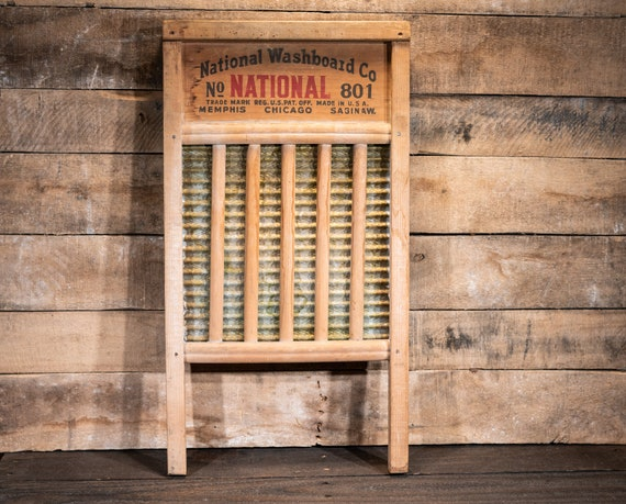 Vintage National Washboard No 801 The Brass King Wood Metal Red Black Farmhouse Washboard Advertising Country Laundry Decor