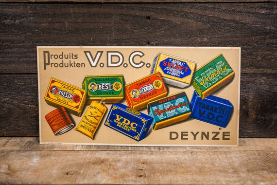 Vintage V.D.C. Deynze Tobacco Store Display Sign Store Counter Stand-up Sign Advertising Man Cave Sign