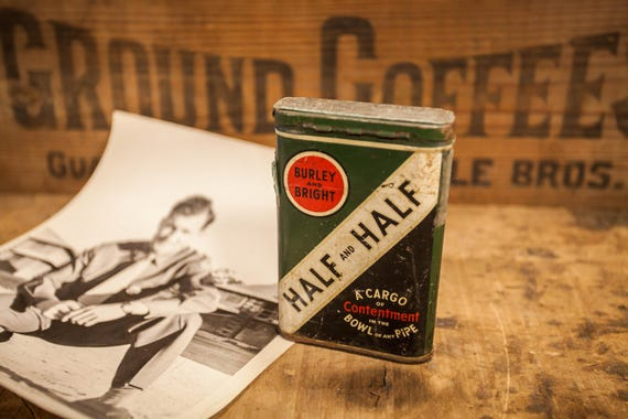 Vintage Burley and Bright Half & Half Pipe Tobacco Tin Green White Black Tobacciana Man Cave Rustic