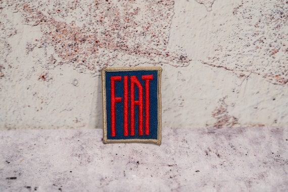 Vintage FIAT Car Embroidered Blue Red Patch Badge Man Cave Garage Automotive NOS Advertising