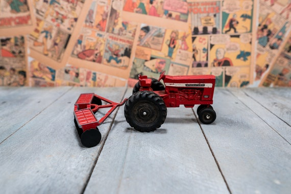 Vintage Die-Cast International Red ERTL Tractor with Plow Toy Kids Nursery Decor Man Cave