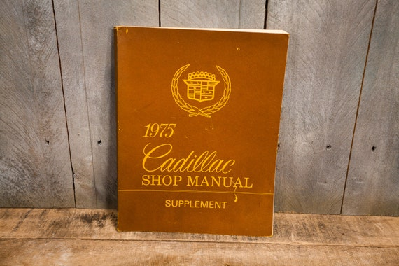 Vintage 1975 Cadillac Shop Manual Auto Car Repair Man Cave Garage General Motors Detroit Michigan