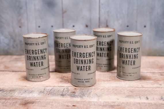 Vintage Emergency Drinking Water Can Unopened Cold War Bomb Shelter US Government MacDonald Bernier Co Boston Mass Militaria Military